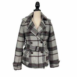 American Eagle Grey/Red Plaid Wool Blend Belted Double Breasted Coat Size Medium